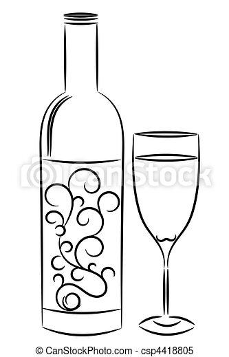 bouteille verre, vin - csp4418805