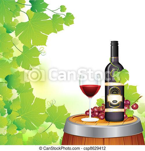 bouteille verre, vin - csp8629412