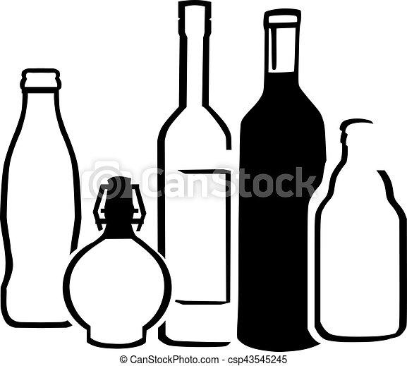 bouteilles, alcool - csp43545245