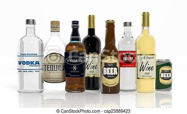bouteilles, boissons alcooliques, isolé, collection, fond, blanc, 3d - csp23889423