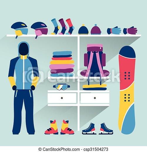 Tienda de deportes de esquí. boutique de actividades de invierno dentro. Diseño plano - csp31504273