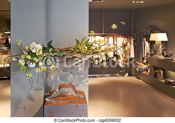 Boutique Interior Spring Flowers Composition In Boutique