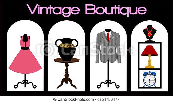 Boutique Storefront Vector Illustration Of A Vintage Store