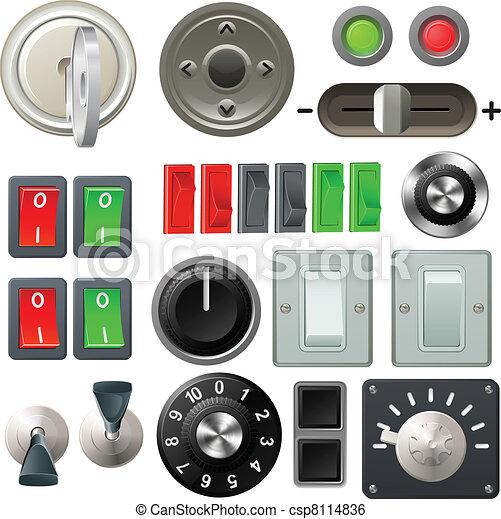 bouton, cadran, éléments, conception, commutateur - csp8114836