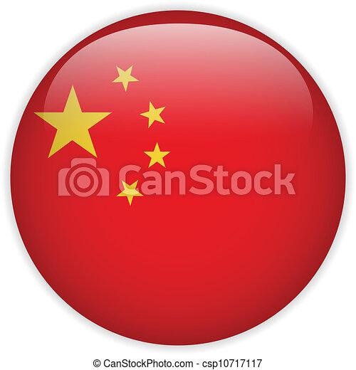 bouton, drapeau chine, lustré - csp10717117