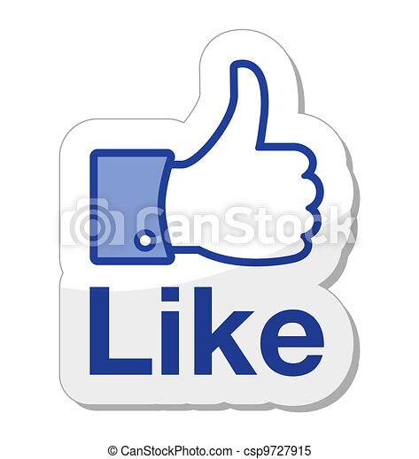bouton, facebook, aimer, il - csp9727915
