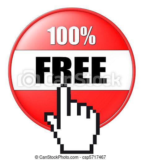 bouton, gratuite, 3d - csp5717467