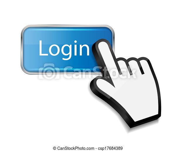 bouton, illustration, main, curseur, vecteur, login, souris - csp17684389