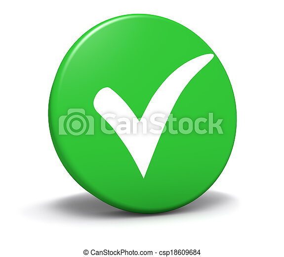 bouton, marque, vert, symbole, chèque - csp18609684
