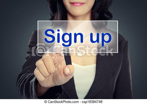 bouton poussée, femme, haut, signe - csp18384748