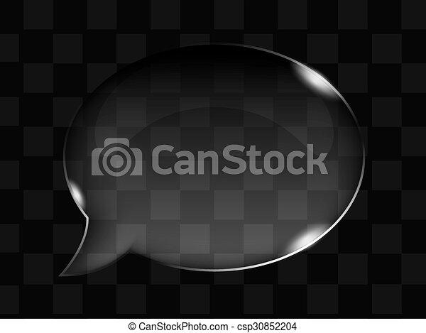 bouton, transparent, verre, vecteur, bulle, ou - csp30852204