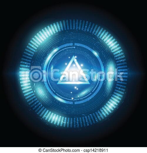 bouton, triangle, puissance, numérique - csp14218911