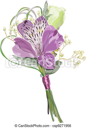 Boutonniere with Alstroemeria and Eustoma.  - csp9271956