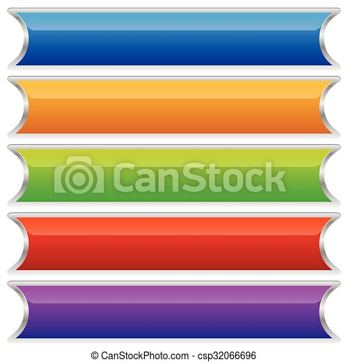 boutons, ensemble, coloré, bannières, plaques, ou - csp32066696