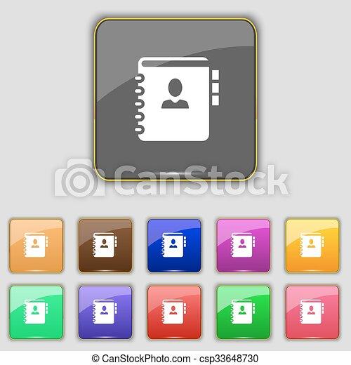 boutons, ensemble, coloré, téléphone, signe., ton, site., onze, vecteur, adresse, cahier, livre, icône - csp33648730