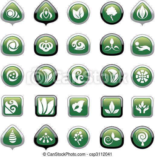 boutons, ensemble, vert - csp3112041