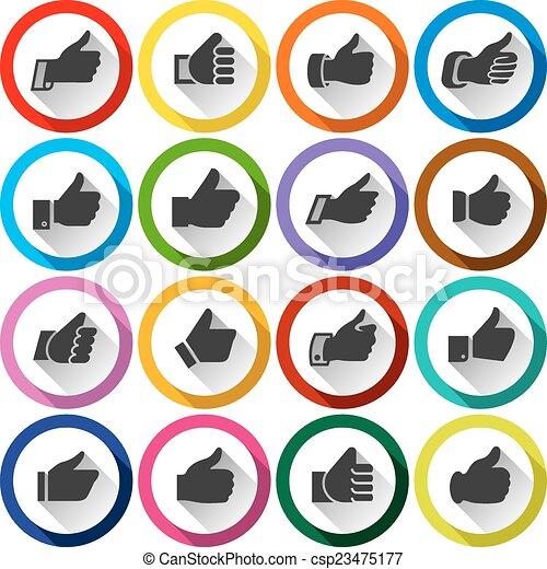 boutons, haut, ensemble, pouces, rond - csp23475177