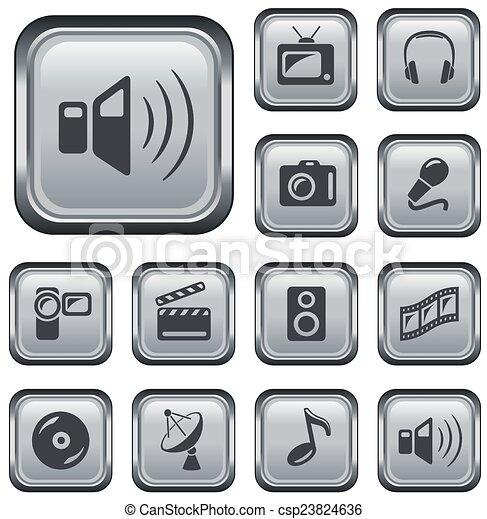 boutons, multimédia - csp23824636