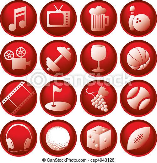 boutons, récréation, icône - csp4943128