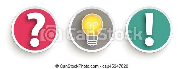 boutons, réponse, 3, question, idée - csp45347820