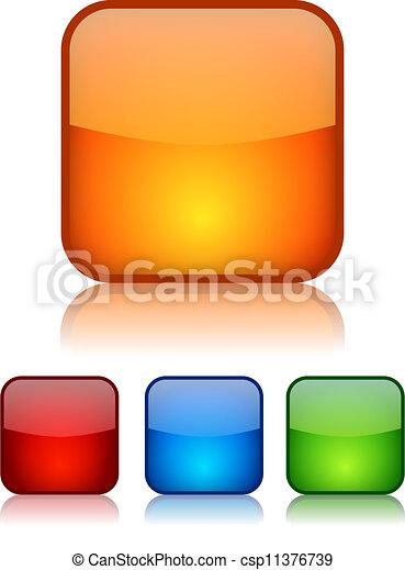 boutons, vecteur, carrée, vitreux - csp11376739