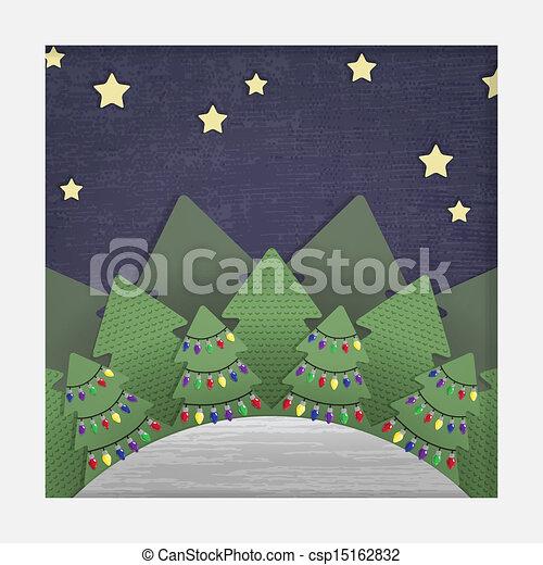 bouwkarton, papier, kerstmis, bos - csp15162832