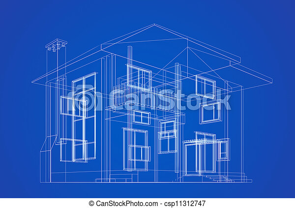 bouwschets, architectuur - csp11312747