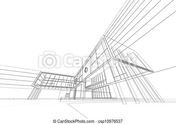 bouwschets, architectuur - csp10976537