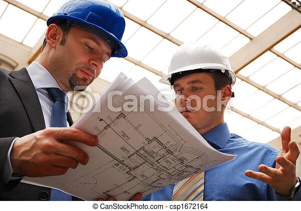 bouwschets, het herzien, architecten - csp1672164