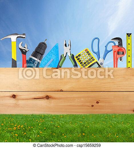 bouwsector, collage., gereedschap - csp15659259