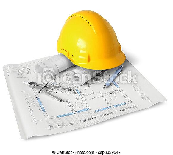 bouwsector, gereedschap, plan - csp8039547