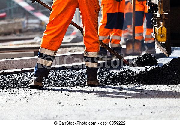 bouwsector, schop, arbeider, straat - csp10059222