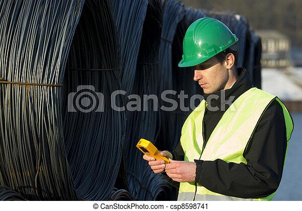 bouwsector, toonbank, supervisor, bouwterrein, geiger - csp8598741