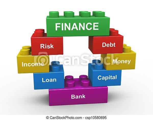 bouwstenen, financiën, 3d - csp10580695