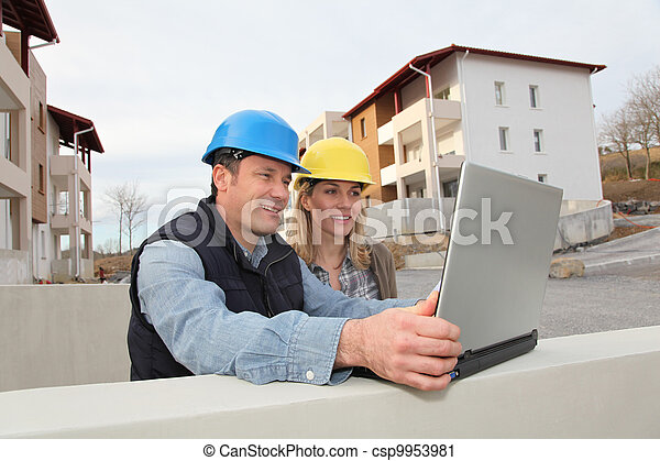 bouwterrein, het kijken, bouwsector, architect plan, ingenieur - csp9953981
