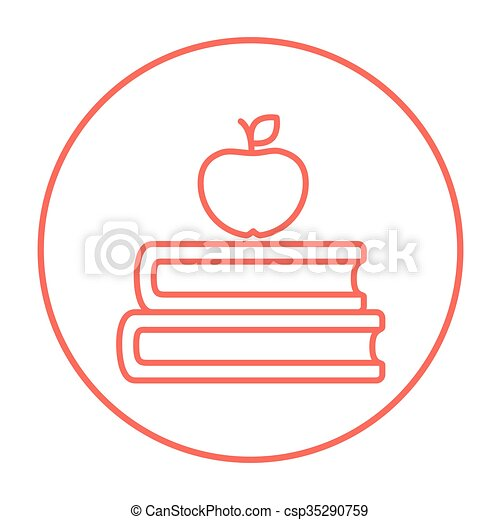bovenzijde, boekjes , lijn, appel, icon. - csp35290759