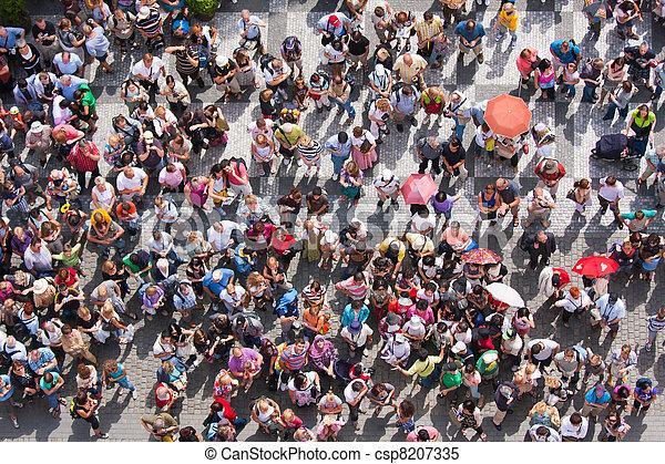 bovenzijde, stadsplein, aanzicht, wachten, mensen - csp8207335