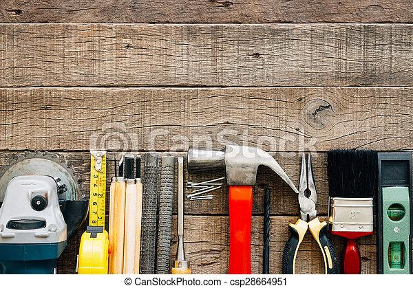 bovenzijde, uitrusting, houtstructuur, meubelmakerij, gereedschap, aanzicht - csp28664951