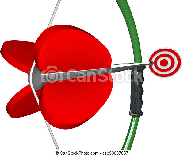 Bow and Arrow Aiming Target Bull's Eye Winning Game - csp30607657