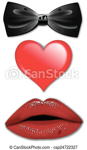 BOW TIE HEART LIPS - csp24722327