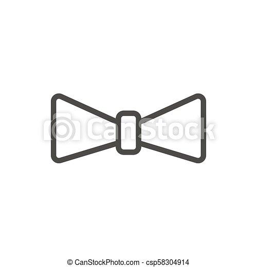Bow Tie Icon Vector Outline Necktie Line Bowtie Symbol Bow Tie