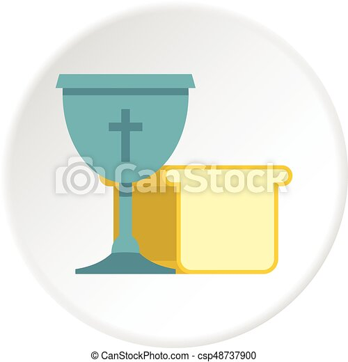 Bowl and bread icon circle - csp48737900
