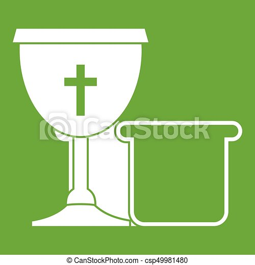 Bowl and bread icon green - csp49981480