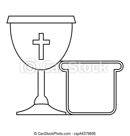 Bowl and bread icon , outline style - csp44379695