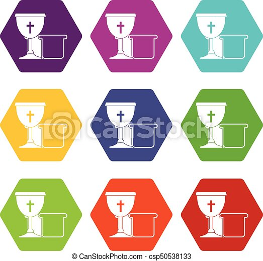 Bowl and bread icon set color hexahedron - csp50538133