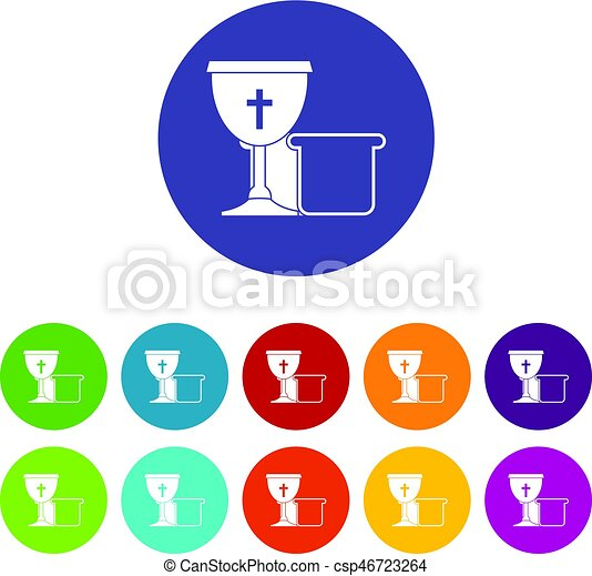 Bowl and bread icons set flat vector - csp46723264