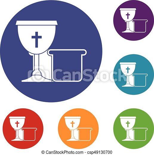 Bowl and bread icons set - csp49130700