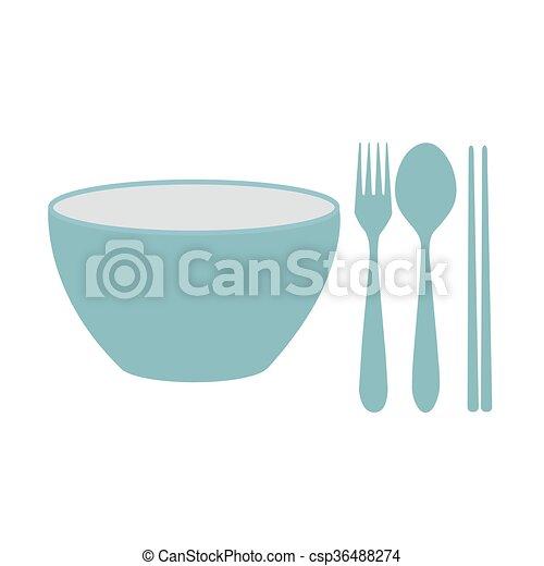 bowl, chopsticks, fork and spoon - csp36488274