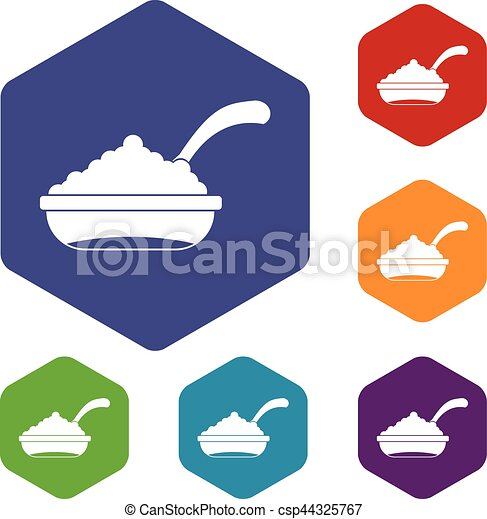 Bowl of caviar with spoon icons set - csp44325767
