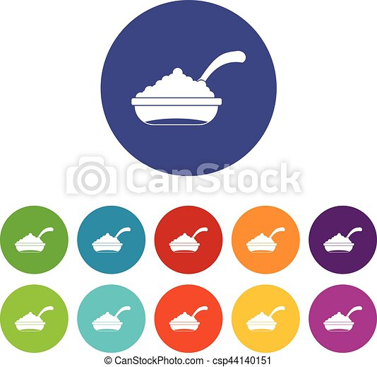 Bowl of caviar with spoon set icons - csp44140151